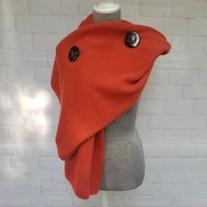 Chunky Orange Cable Knit Scarf